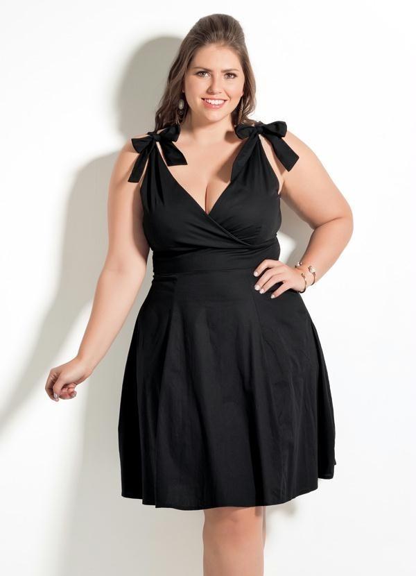 06317d7c5d vestido decote v quintess preto plus size. Carregando zoom.