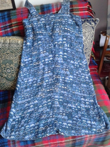 vestido delantal un bolsillo azul breteles sin botones s