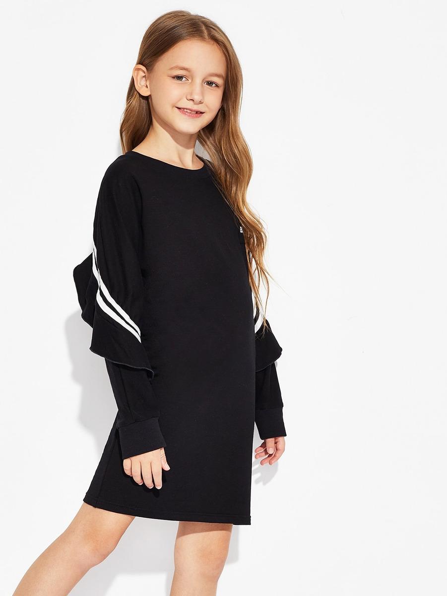 c1c58038c vestido deportivo de niñas con estampado de letra ribete fr. Cargando zoom.