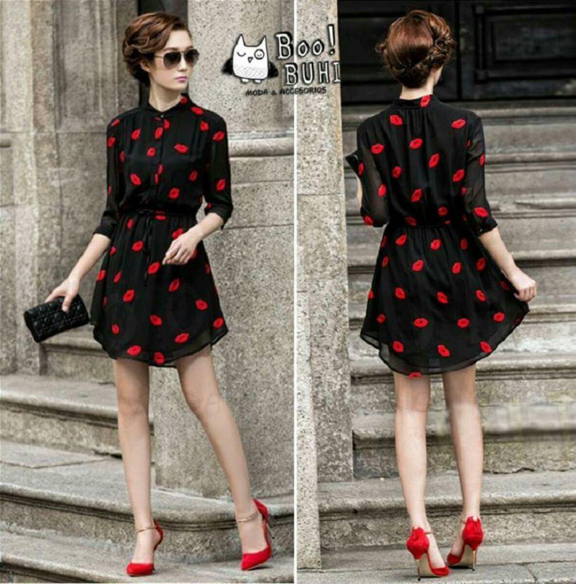 2b01d8846 Vestido Diseño Exclusivo Besos Bordados . Importado !!! - S  89