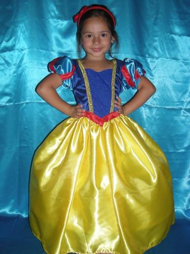 vestido disfraz blancanieves la mas linda princesas disney!!