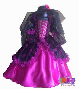 Vestido Disfraz Catrina Niña Bruja Halloween Talla 8
