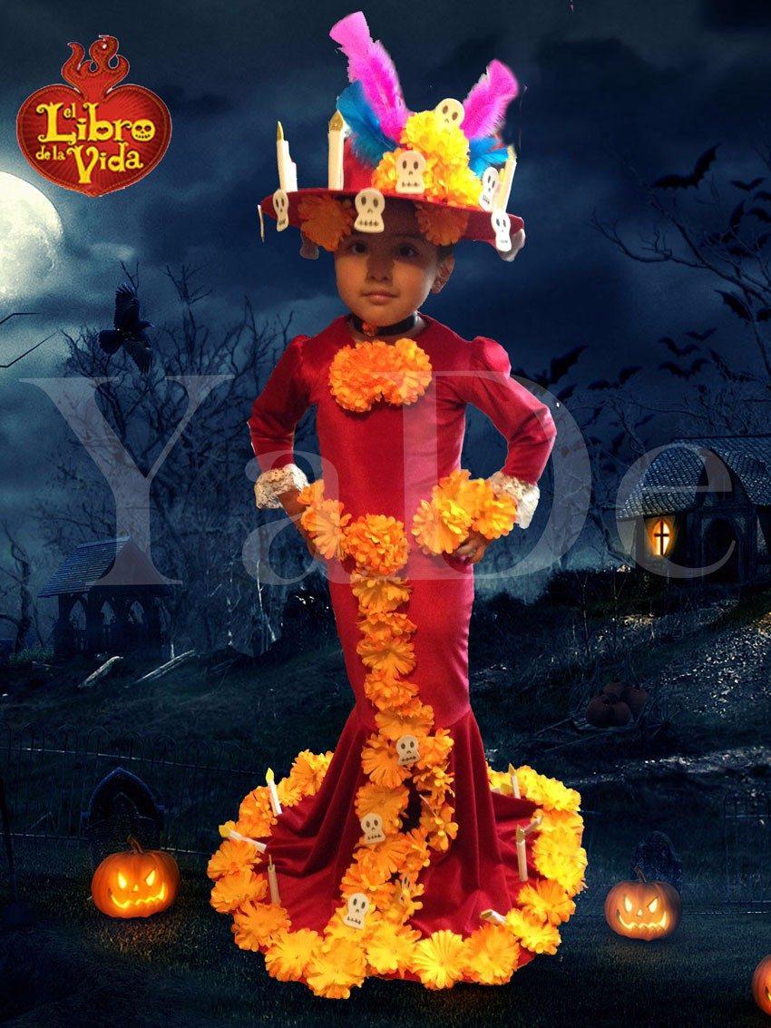 Vestido Disfraz Halloween El Libro De La Vida Catrina Muerte - $ 850.00 en Mercado Libre