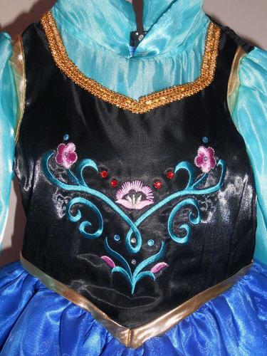 vestido disfraz lujo princesa ana frozen talla 1 y 2