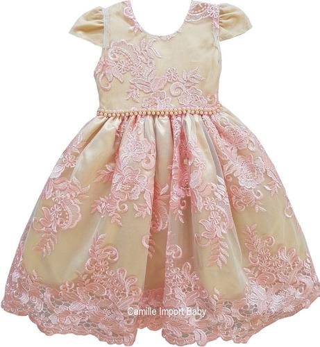 vestido dourado infantil dama de honra luxo 1 a 16 anos
