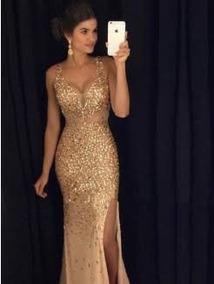 1dcbafeca Vestido Longo Dourado Pedrarias - Vestidos De Festa Longos Femininas ...