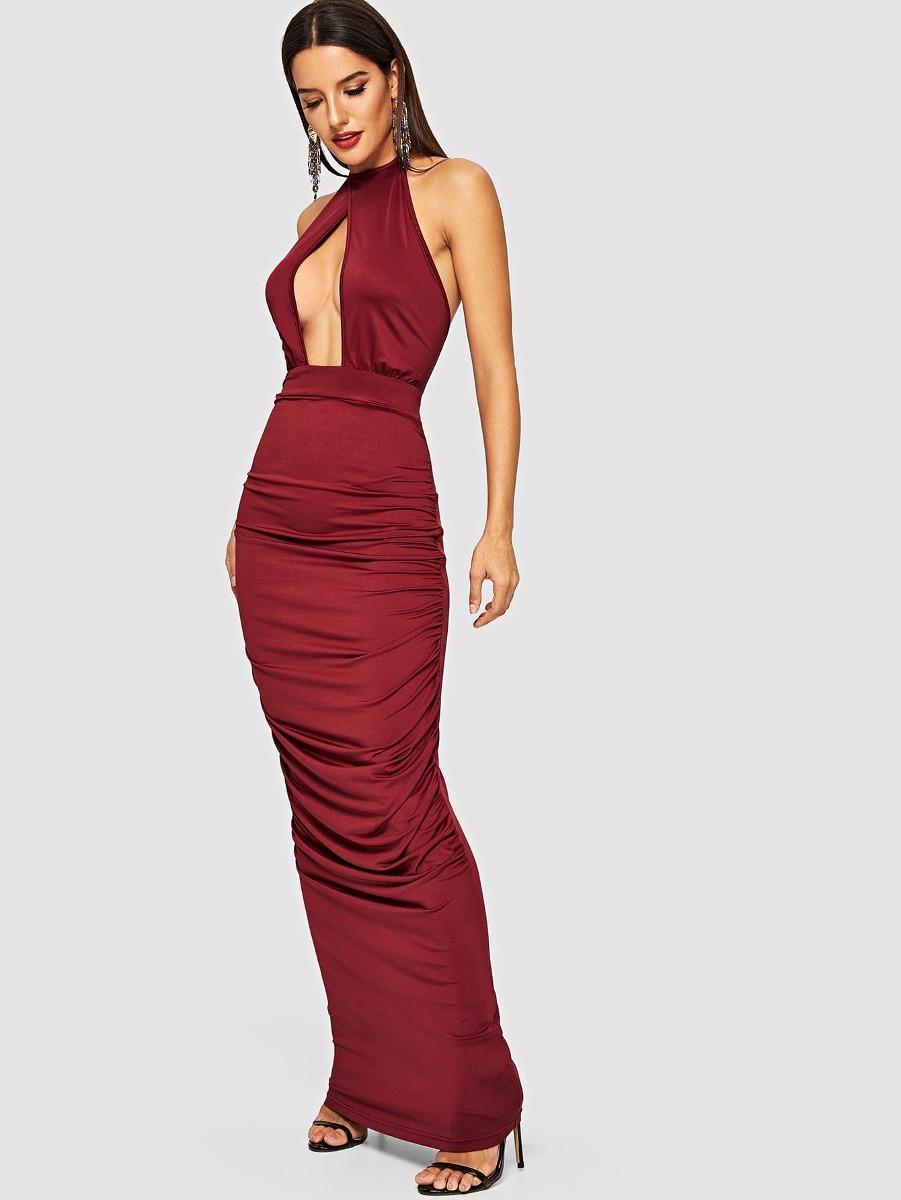 Vestido Drapeado De Parte Delantera Con Costura - $ 663.59 en ...