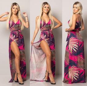 3f0eb0e6d1 Vestido Longo Florido Aberto Na Perna - Vestidos no Mercado Livre Brasil