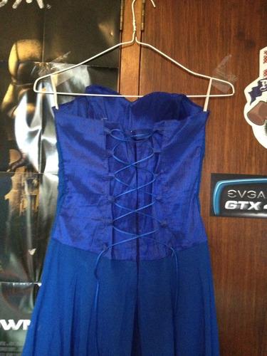 vestido + elegante + azul rey + fiesta + corto + moda dama