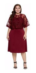 Vestido Elegante Casual Color Vino Tallas Extras Encaje