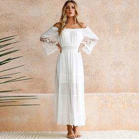 b38850f9a Vestido Elegante Con Estilo Bohemio Para Fiesta, Blanco L