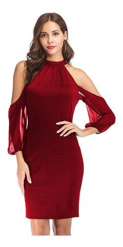 vestido elegante de fiesta tipo coctel rojo ym03