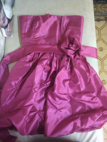 vestido elegante fucsia satinada excelente tela nuevo