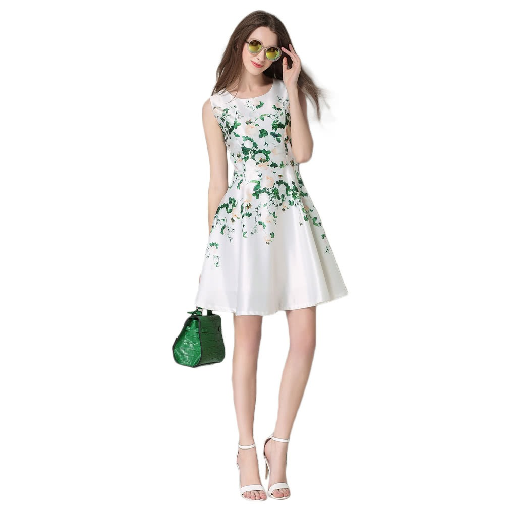 ce39ce784 vestido elegante impresión floral mujeres moda ronda cuello. Cargando zoom.