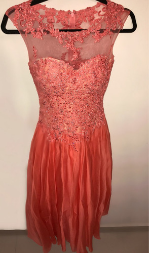 vestido elegante largo coral