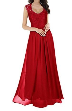 vestido elegante largo de encaje para fiesta de noche..