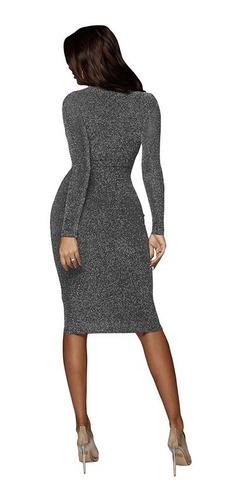 vestido elegante mujeres sólido o cuello de manga largo bli