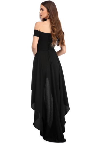vestido elegante negro strapless sexy largo asimetrico 61437