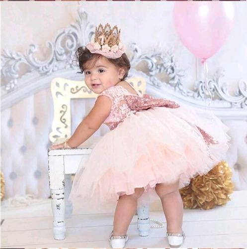 vestido elegante rosa moño lentejuelas fushia tutu fiesta