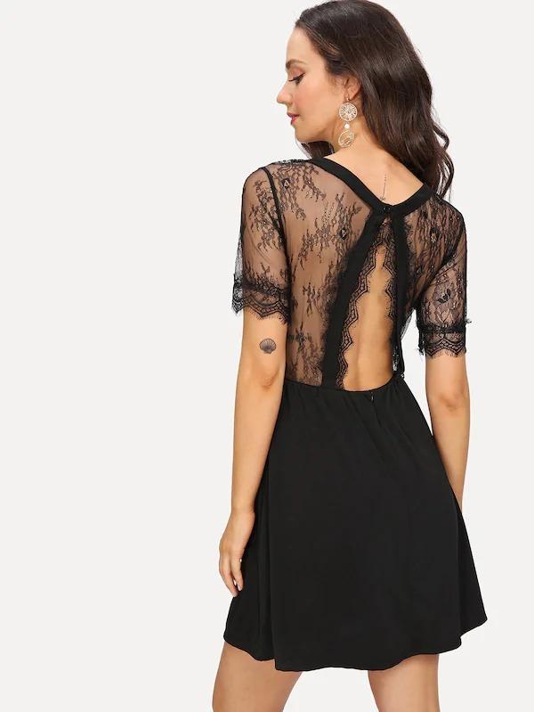 c201c3e6be507 Vestido Elegante Sencillo Con Encaje En Contraste M495 -   640.00 en ...