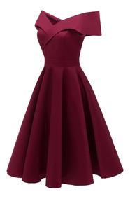 faaea3124234 Vestido Para Damas Vino - Vestidos de Mujer Casual Medio Rojo en ...