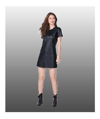 vestido em couro sintético preto - malwee enfim