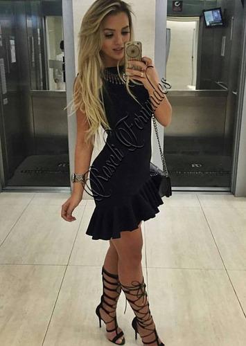 vestido em lycra grossa mullet babado festa roupas s/ renda