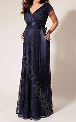 vestido em renda longo para gravidas, manga curta
