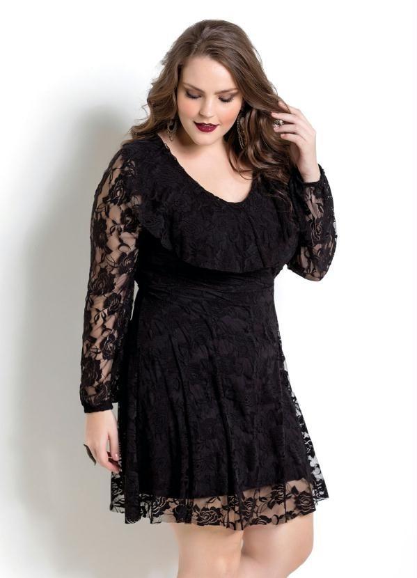 cbac4e67f0 vestido em renda preta plus size moda evangélica tamanho 56. Carregando  zoom.
