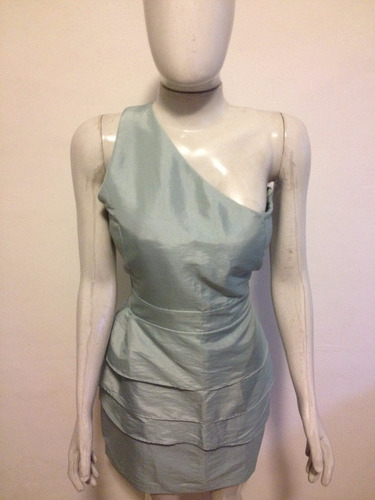 vestido em tafetá,um ombro só,tamanho gg.