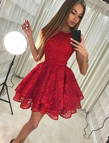 vestido en encaje corte princesa juvenil doble falda