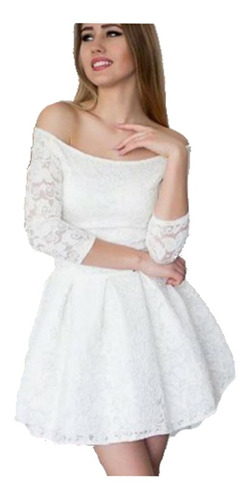 vestido en encaje juvenil corte princesa