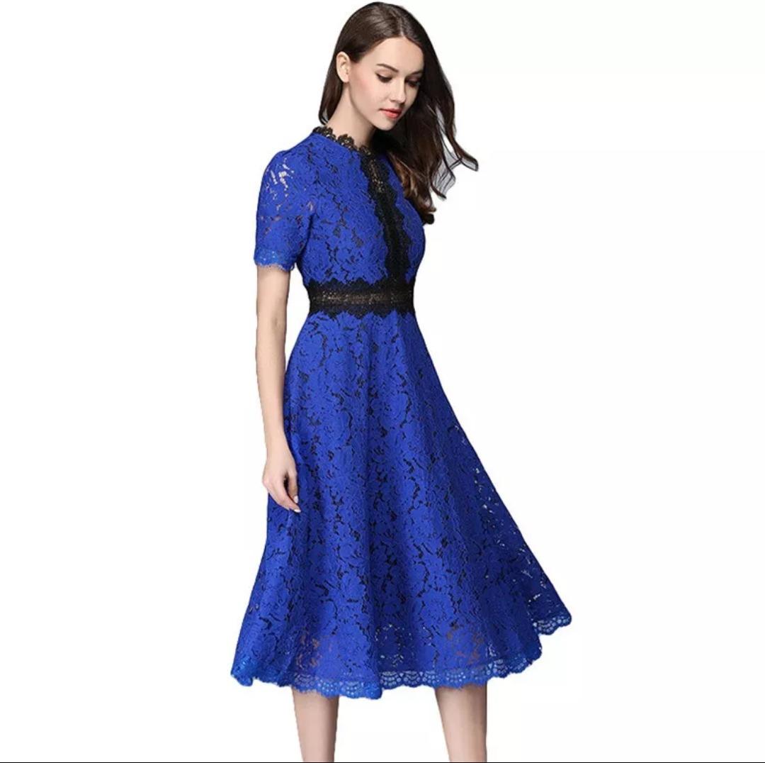 941ec2316 Vestido Encaje Azul Rey -   680.00 en Mercado Libre