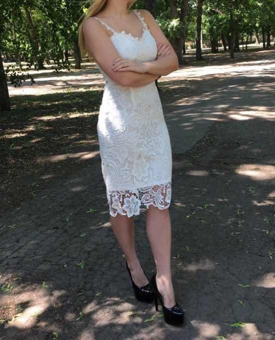 c699d0b229f4 Vestido Encaje Blanco Elegante Tipo Lapiz Fiesta Novia Boda