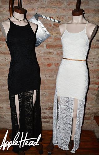 vestido encaje con aberturas tajos fiesta transparencia