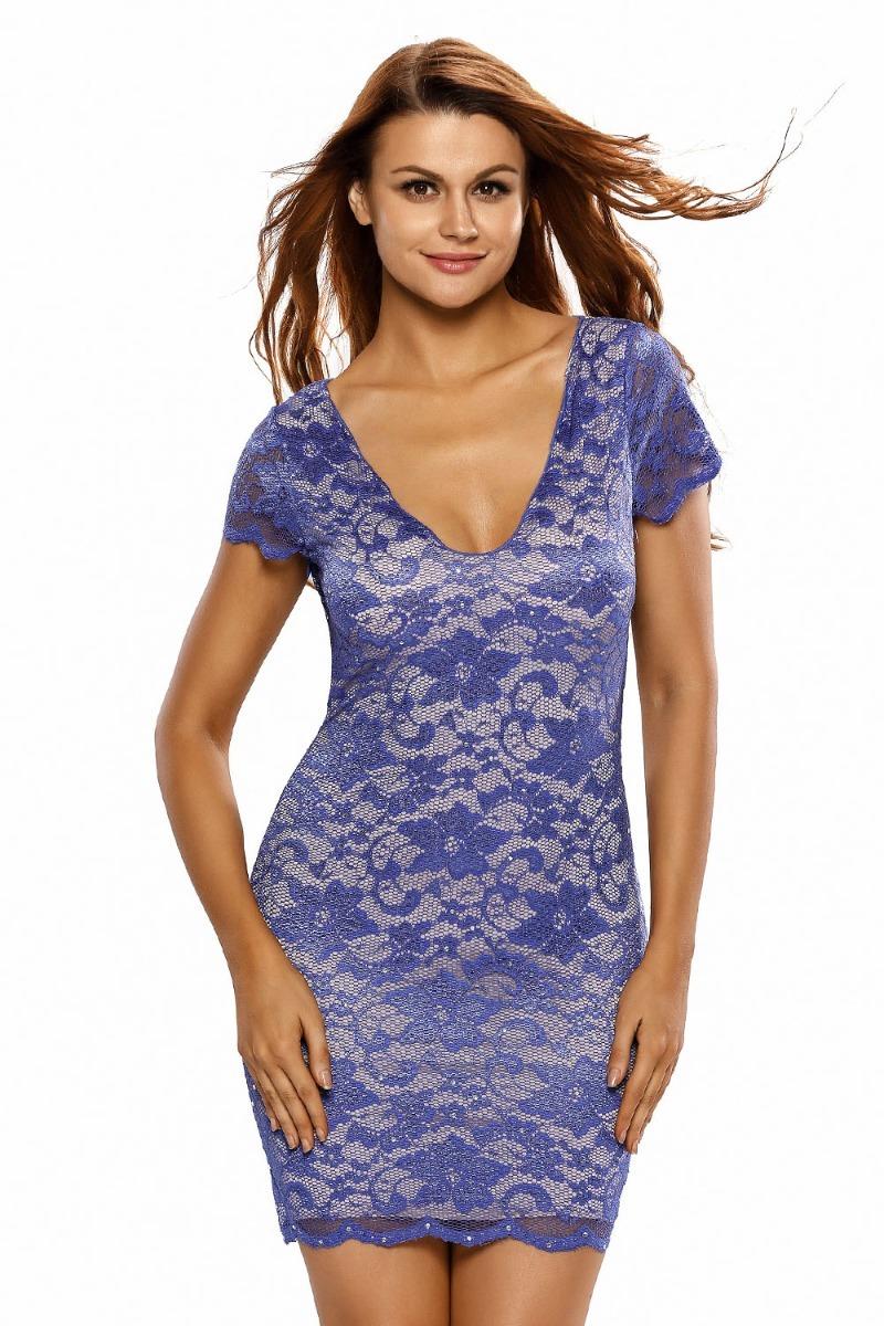 Vestido Encaje Corto Entallado Azul-violeta Brillantes - $ 430.00 en ...
