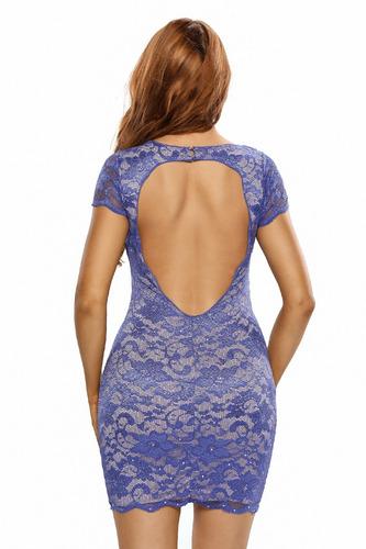 vestido encaje corto entallado azul-violeta brillantes