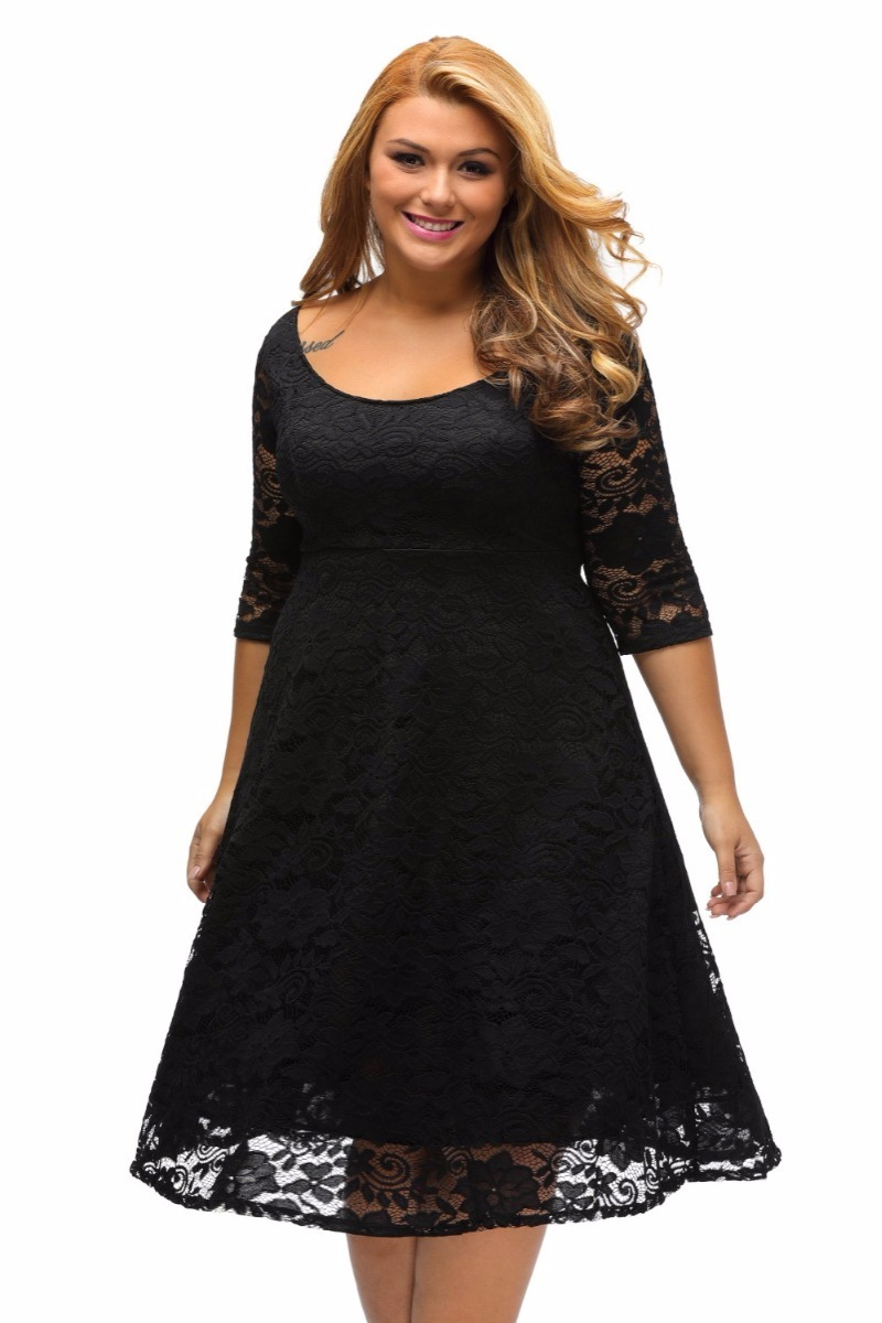 Vestidos de encaje negro para gorditas