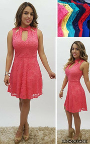 Vestido Encaje Mujer Color Coral Escote