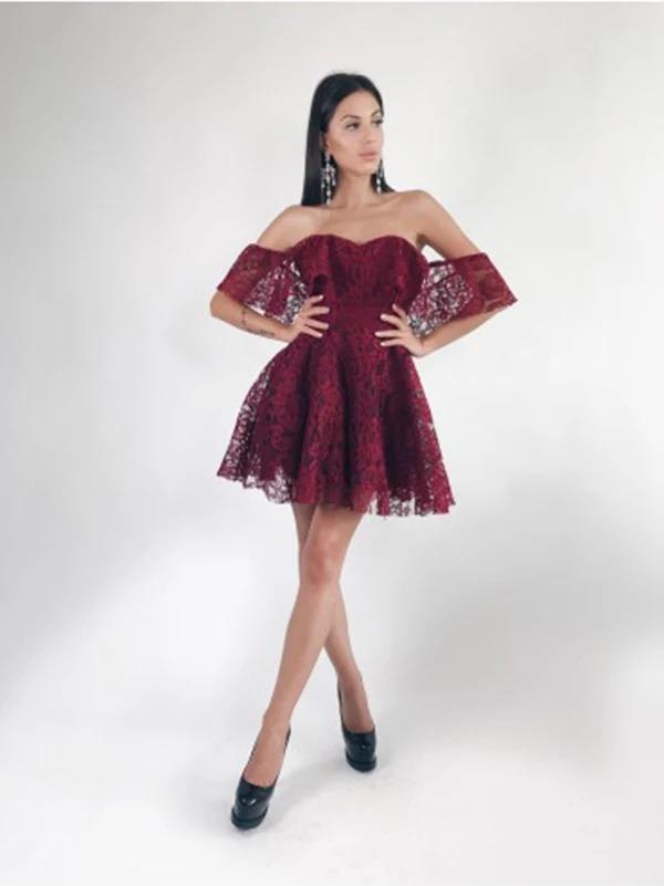 Vestido Encaje Vino Corto