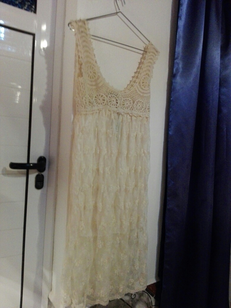 5a4e65220fa6d Vestido Encaje Y Guipur Escote Redondo L