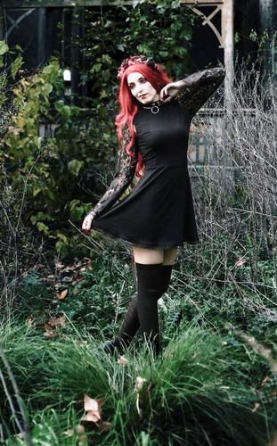 vestido enchantress con mangas encaje y puntilla - fuck tags