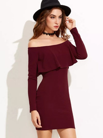 Vestido Entallado Corto De Hombros Descubiertos Color Vino