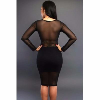 vestido entallado negro con transparencias manga larga 61004