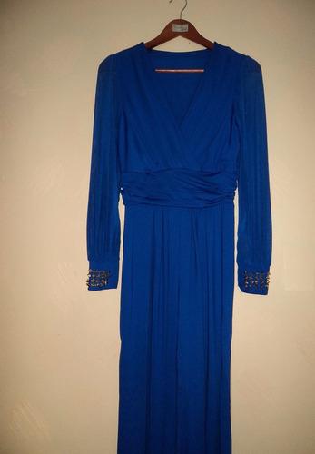 vestido entero jumpsuit azul fiesta tachas en puños el 06