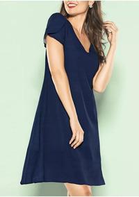 99001e47d3 Vestido Escote En V Azul Corto Andrea 1362091