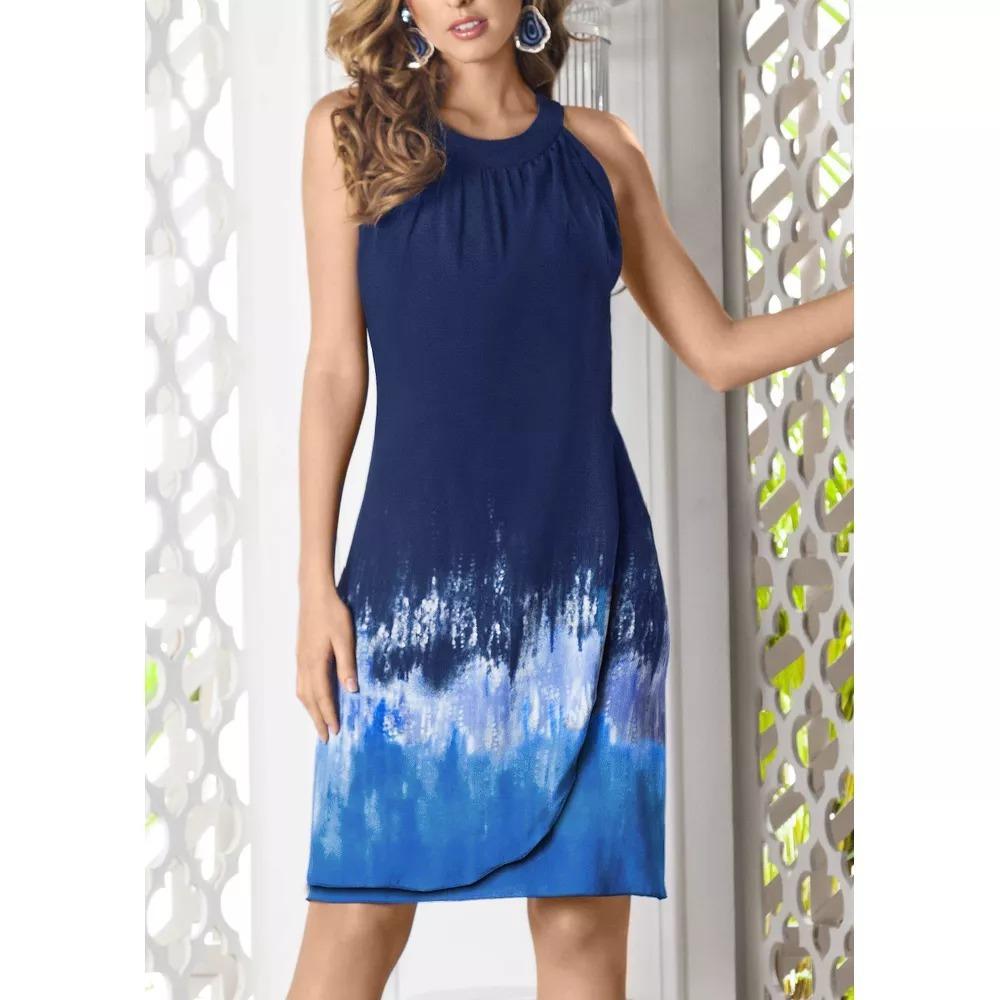 Vestido Escote Redondo Azul Andrea 2018