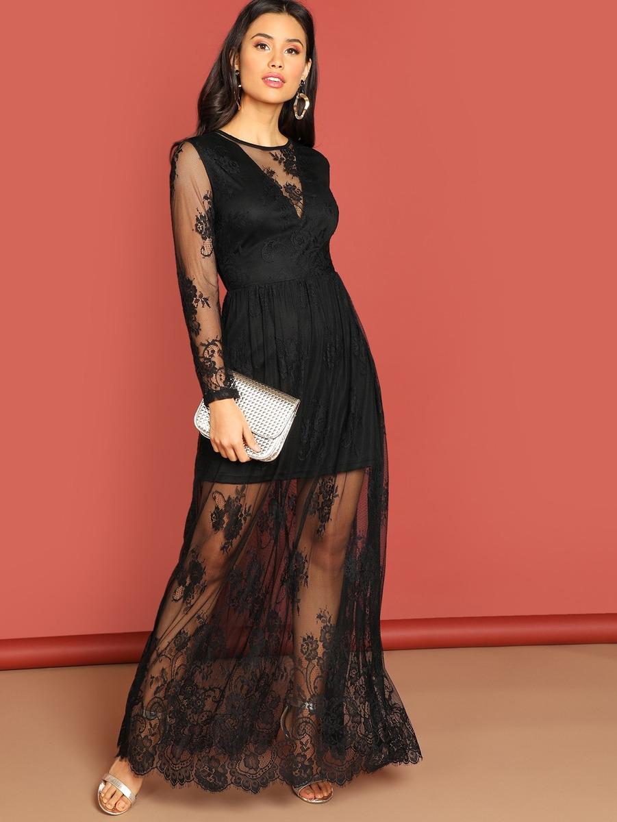 84ee535306a Vestido Escote V Profundo Con Encaje En Contraste - $ 782.89 en ...