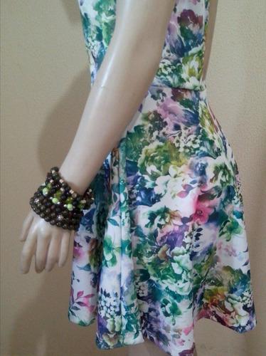 vestido estampado curto brinde pulseira