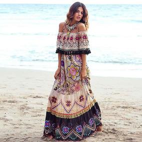 7594eaa9d Vestido Estampado Falda Larga Playa Para Mujer.